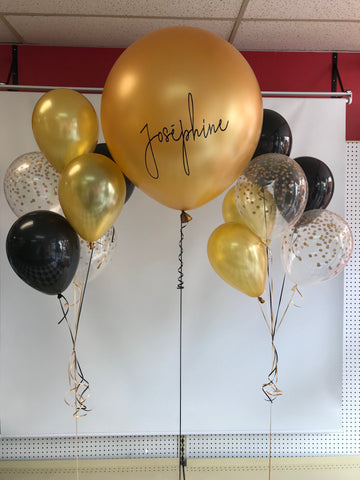 "Kit Personalized 24'' Balloon With 2 Bouquets of 6 Latex Balloons 11"" Black & Gold"