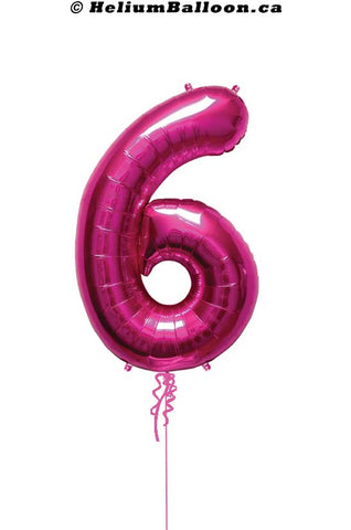 Number-6-fushia-helium-balloon-Montreal-delivery-Livraison-bouquets-de-ballons-Helium-Montreal-chiffre-6-fushia