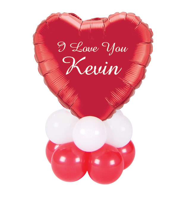Personalized Balloon Centerpiece - Heart Metallic Balloon 17'' ( Colors Available )