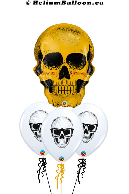 Stylish-Gold-Skull-Halloween-helium-balloon-Montreal-delivery-Livraison-bouquets-de-ballons-Helium-Montreal-Ballon-Halloween-tête-de-mort