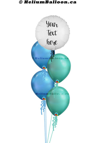 Personalized Balloon Bouquet - Round Metallic Balloon 18'' ( Colors Available )