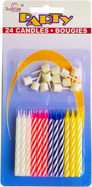 Spiral Birthday Candles Multi-Color (24 ct.)