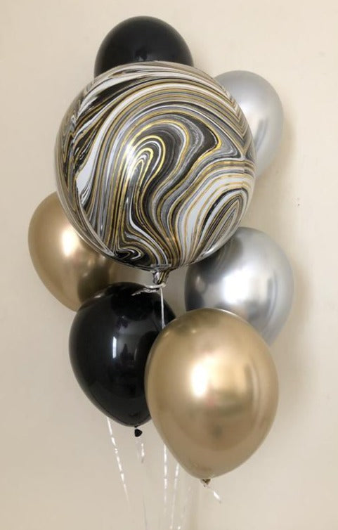 Bouquet Black, Silver & Gold - Marble Orbz Balloon 18""