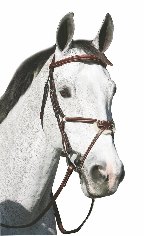 Henri de Rivel Pro Mono Crown Raised Figure 8 Bridle with Rubber Reins