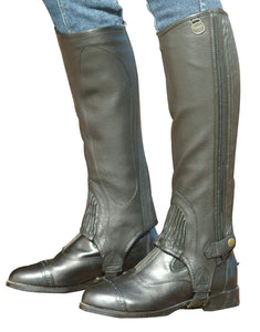 Ovation Stretch Ribbed Top Grain Half Chaps - Ladies'