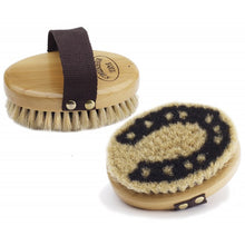 Load image into Gallery viewer, Equiessentials Wood Back Horseshoe Body Brush with Horse Hair