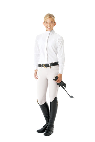 Ovation Celebrity EuroWeave DX Euro Seat Front Zip Knee Patch Breeches - Child's