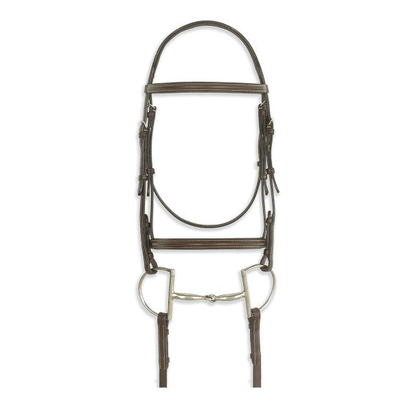 Ovation Classic Colleciton- Plain Raised Comfort Crown Padded Bridle with Laced Reins
