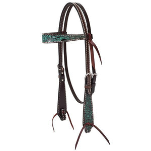 "Turquoise Cross Carved Turquoise Flower 5/8"" Browband Headstall"