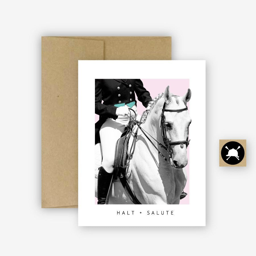Hunt Seat Paper Co. Halt + Salute Equestrian Dressage Horse Greeting Card