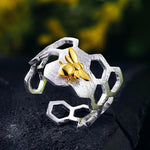 Load image into Gallery viewer, OMNIDEN LOTUS Silver & Gold Bee Ring