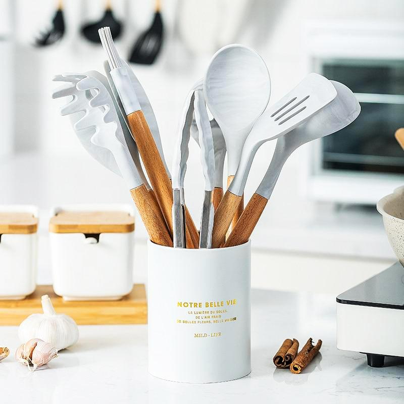 OMNIDEN With Holder Marbled Silicone Utensil Set