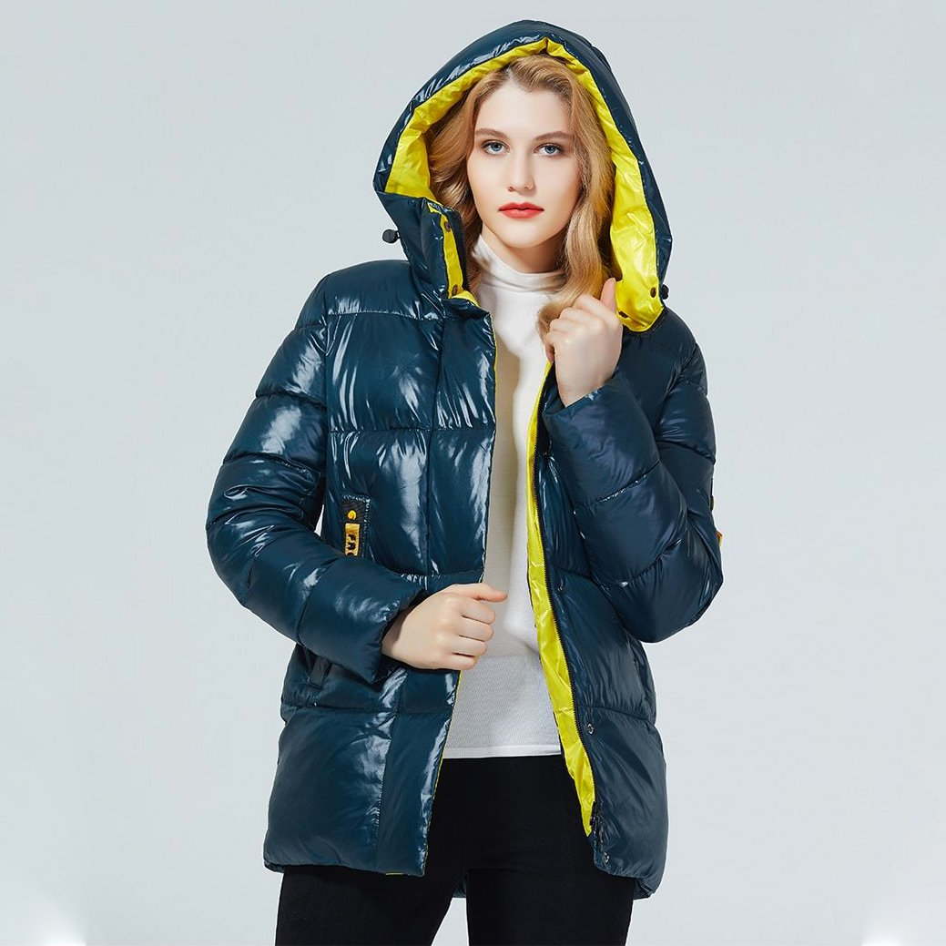 OMNIDEN Blue & Yellow / S Irina Puffer Jacket