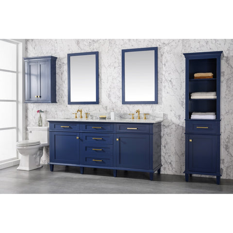 Blue double vanity with mirrors