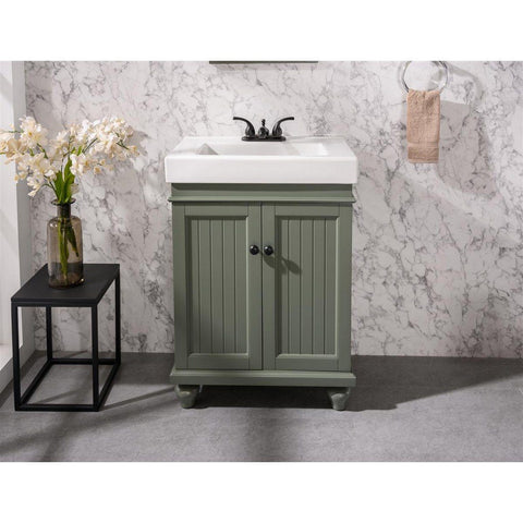 "Legion Furniture 24"" Sink Vanity with White Ceramic Vanity Top Legion Furniture Vanities Pewter Green"