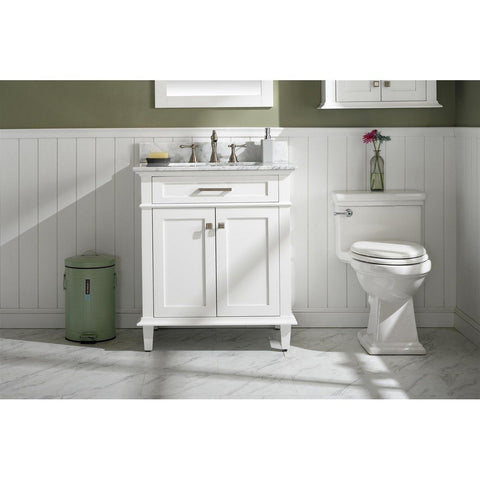 "Legion Furniture 30"" Single-Sink Vanity Cabinet with Carrara Marble Top Legion Furniture Vanities White"