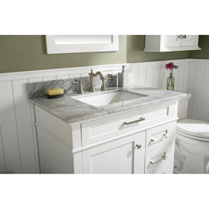 "36"" Single-Sink Vanity Cabinet with Carrara Marble Top Legion Furniture Vanities"