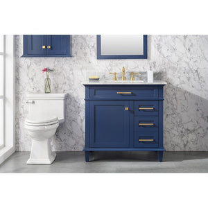 "36"" Single-Sink Vanity Cabinet with Carrara Marble Top Legion Furniture Vanities Blue"