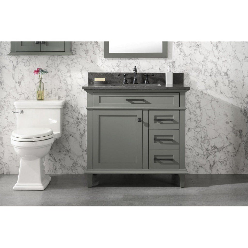 "36"" Single-Sink Vanity Cabinet with Carrara Marble Top Legion Furniture Vanities Pewter Green"