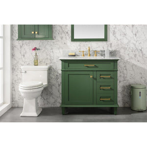 "36"" Single-Sink Vanity Cabinet with Carrara Marble Top Legion Furniture Vanities Vogue Green"