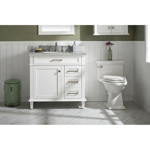 "36"" Single-Sink Vanity Cabinet with Carrara Marble Top Legion Furniture Vanities White"