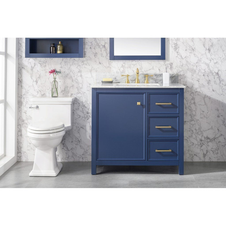 "36"" Single-Sink Vanity Cabinet with Marble Top Legion Furniture Vanities Blue"