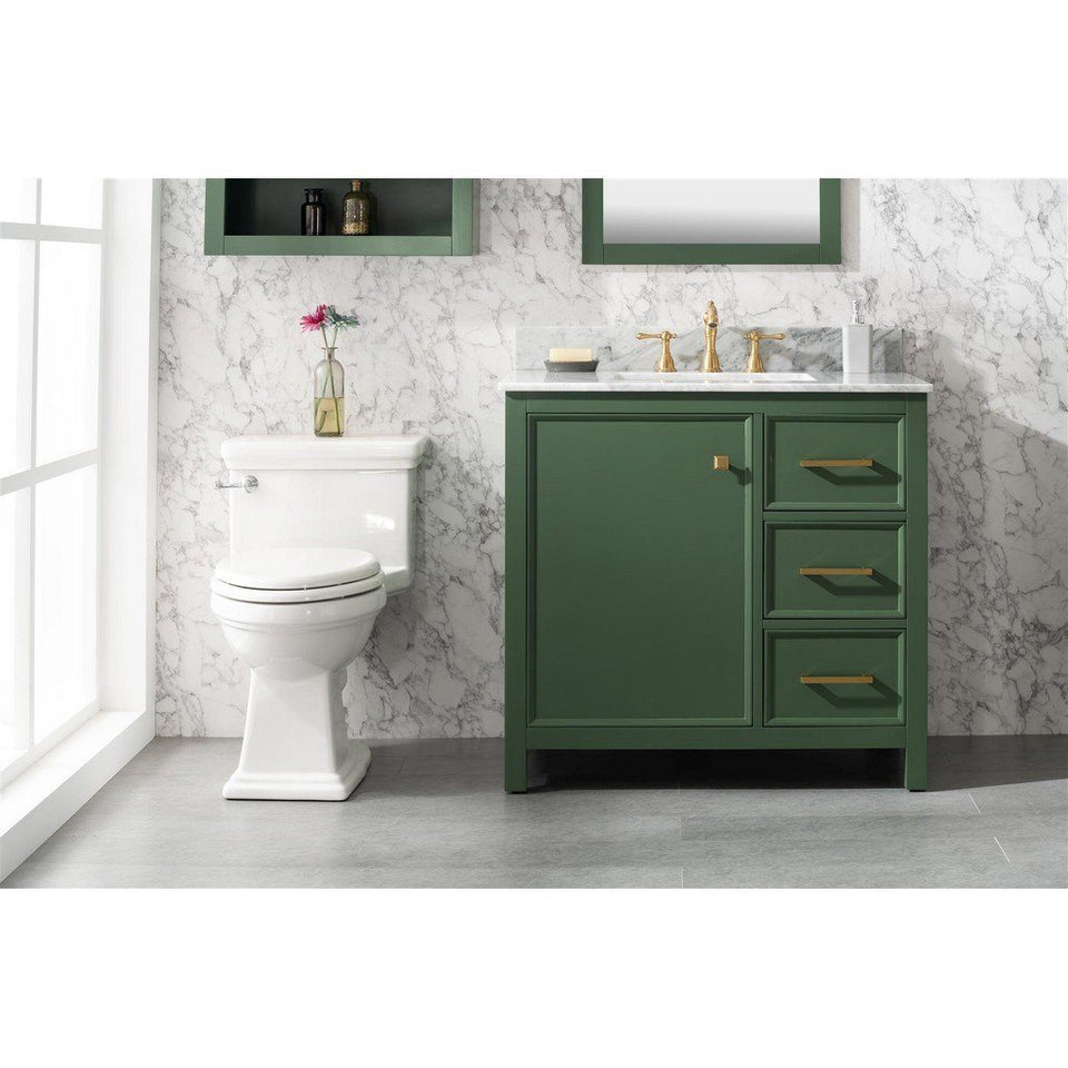 "36"" Single-Sink Vanity Cabinet with Marble Top Legion Furniture Vanities Vogue Green"