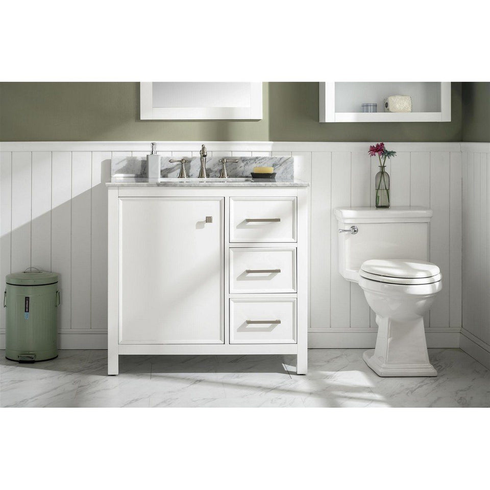 "36"" Single-Sink Vanity Cabinet with Marble Top Legion Furniture Vanities White"