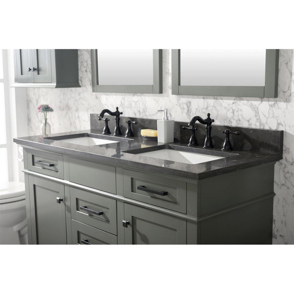 "54"" Double-Sink Vanity Cabinet with Carrara Marble Top Legion Furniture Vanities"