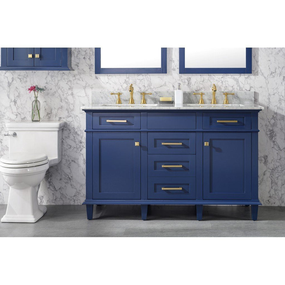 "54"" Double-Sink Vanity Cabinet with Carrara Marble Top Legion Furniture Vanities Blue"