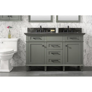 "54"" Double-Sink Vanity Cabinet with Carrara Marble Top Legion Furniture Vanities Pewter Green"