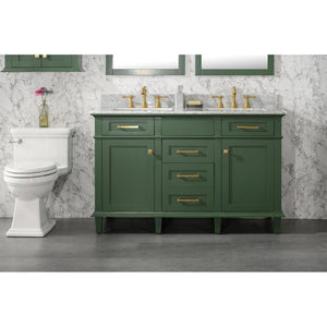 "54"" Double-Sink Vanity Cabinet with Carrara Marble Top Legion Furniture Vanities Vogue Green"