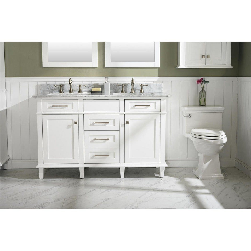 "54"" Double-Sink Vanity Cabinet with Carrara Marble Top Legion Furniture Vanities White"