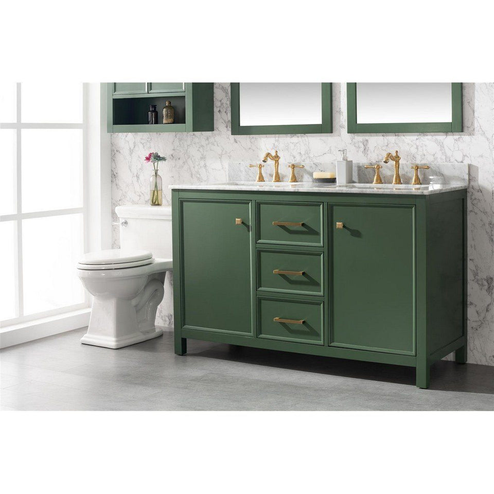 "54"" Double-Sink Vanity Cabinet with Marble Top Legion Furniture Vanities"