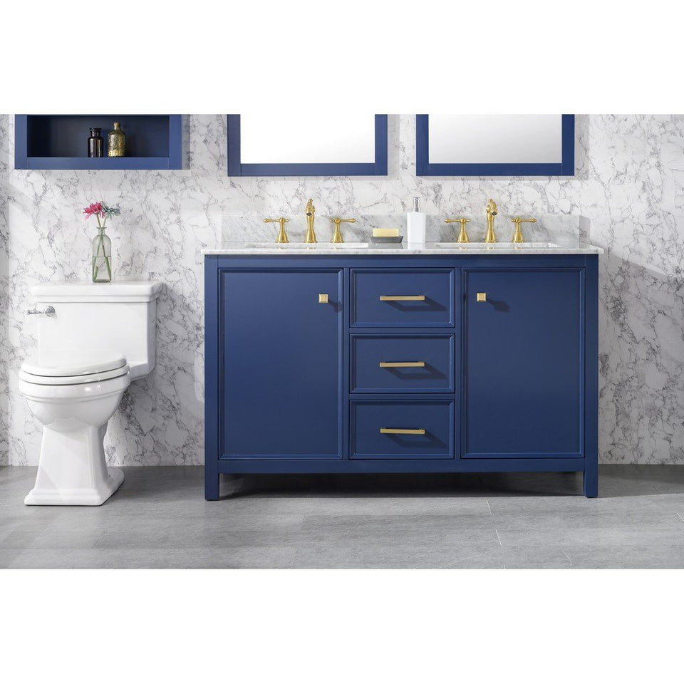 "54"" Double-Sink Vanity Cabinet with Marble Top Legion Furniture Vanities Blue"
