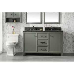 "54"" Double-Sink Vanity Cabinet with Marble Top Legion Furniture Vanities Pewter Green"