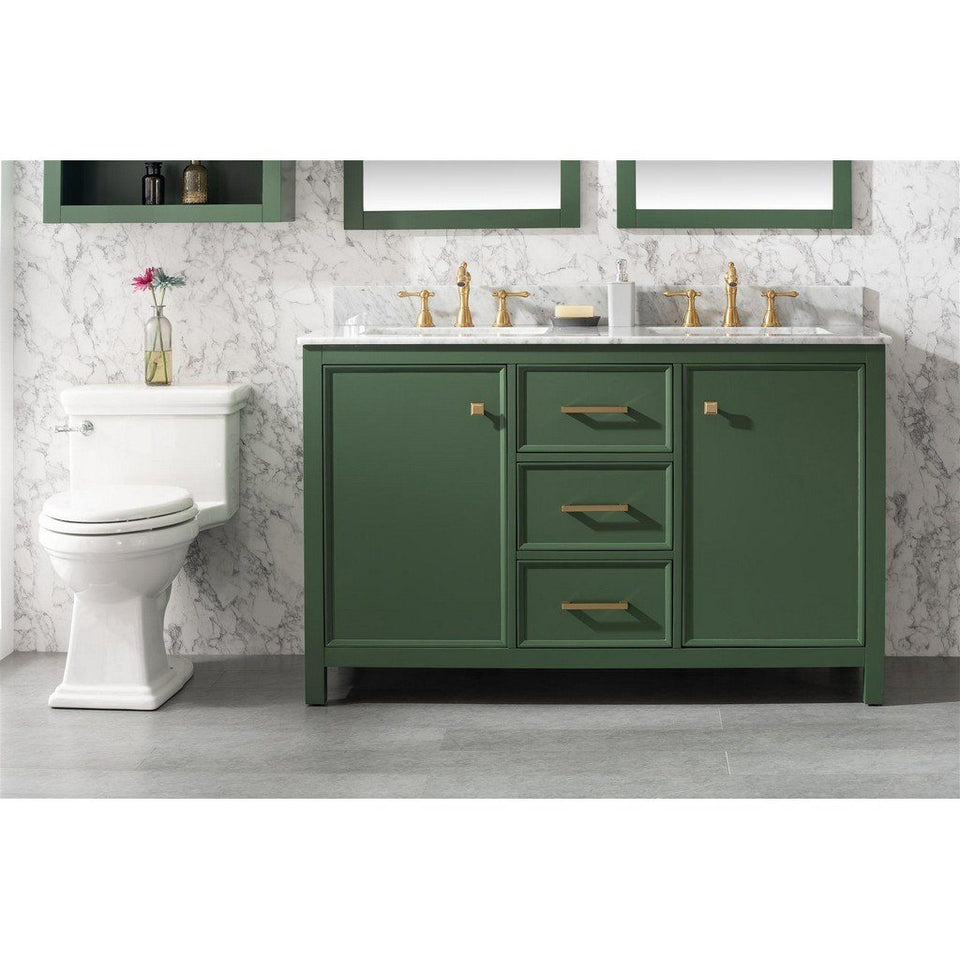 "54"" Double-Sink Vanity Cabinet with Marble Top Legion Furniture Vanities Vogue Green"