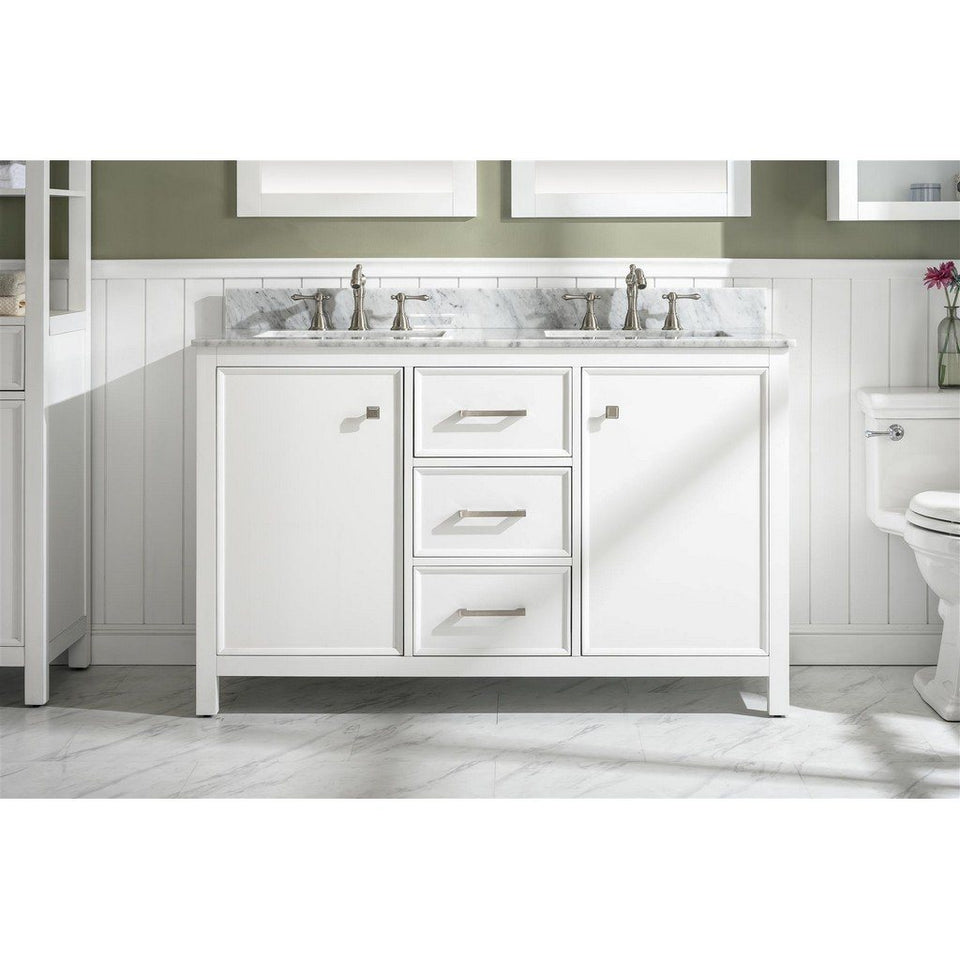 "54"" Double-Sink Vanity Cabinet with Marble Top Legion Furniture Vanities White"
