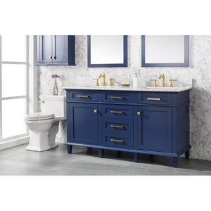 "60"" Double-Sink Vanity Cabinet with Carrara Marble Top Legion Furniture Vanities"
