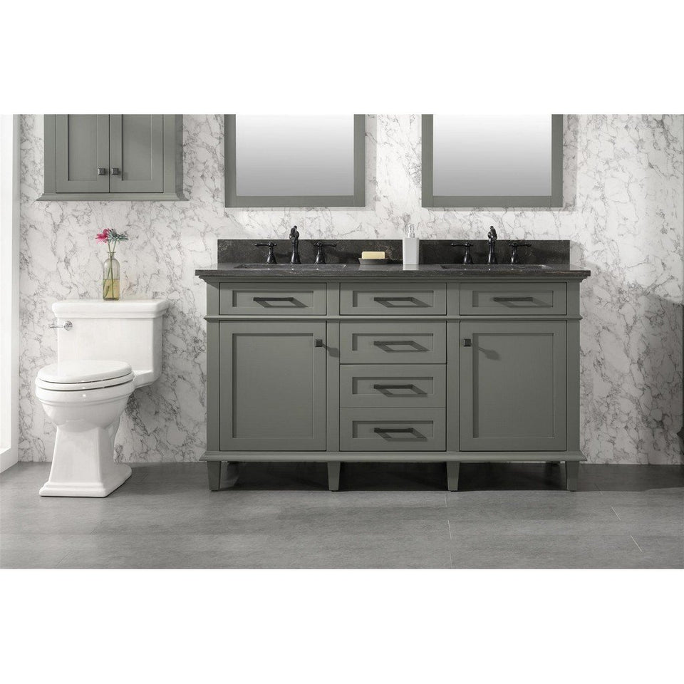 "60"" Double-Sink Vanity Cabinet with Carrara Marble Top Legion Furniture Vanities Pewter Green"