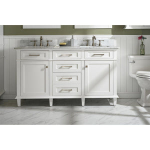 "60"" Double-Sink Vanity Cabinet with Carrara Marble Top Legion Furniture Vanities White"