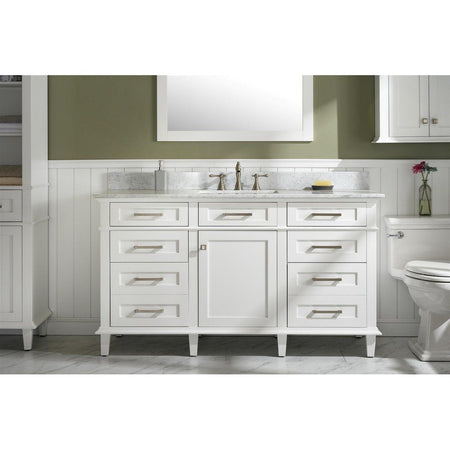 "60"" Single-Sink Vanity Cabinet with Carrara Marble Top Legion Furniture Vanities"