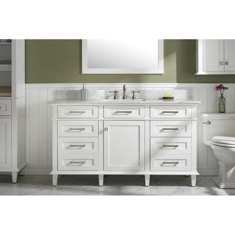 "Legion Furniture 60"" Single-Sink Vanity Cabinet with Carrara Marble Top Legion Furniture Vanities White"