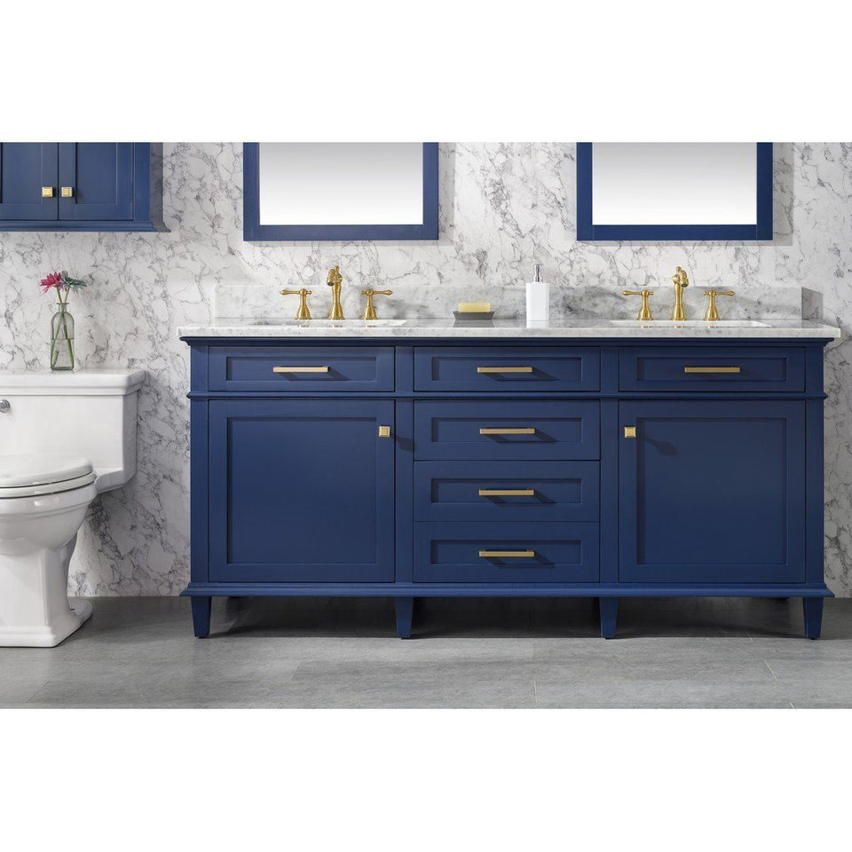 "72"" Double-Single Sink Vanity Cabinet with Marble Top Legion Furniture Vanities Blue"