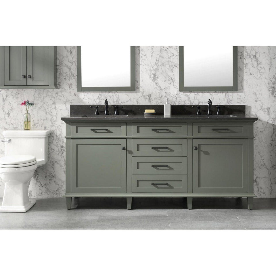 "72"" Double-Single Sink Vanity Cabinet with Marble Top Legion Furniture Vanities Pewter Green"