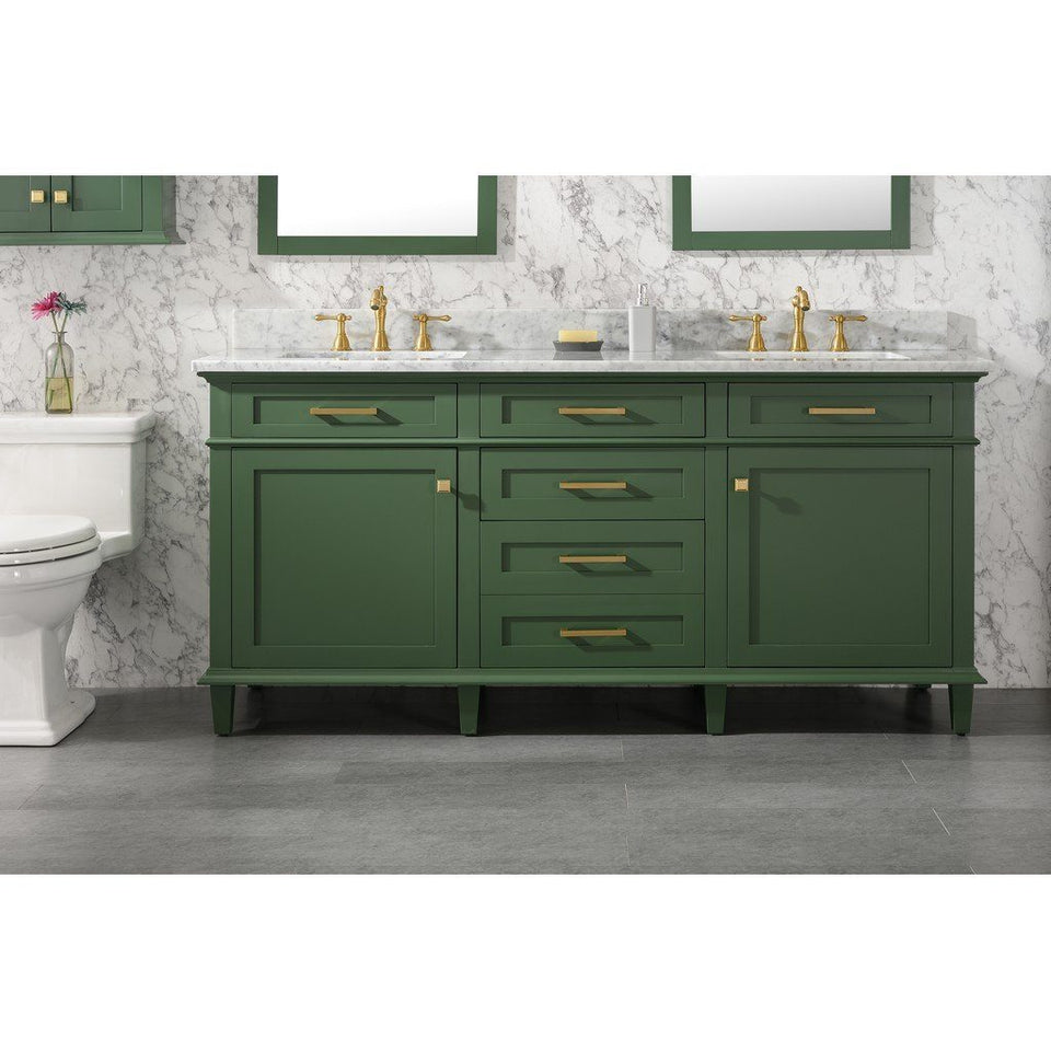 "72"" Double-Single Sink Vanity Cabinet with Marble Top Legion Furniture Vanities Vogue Green"
