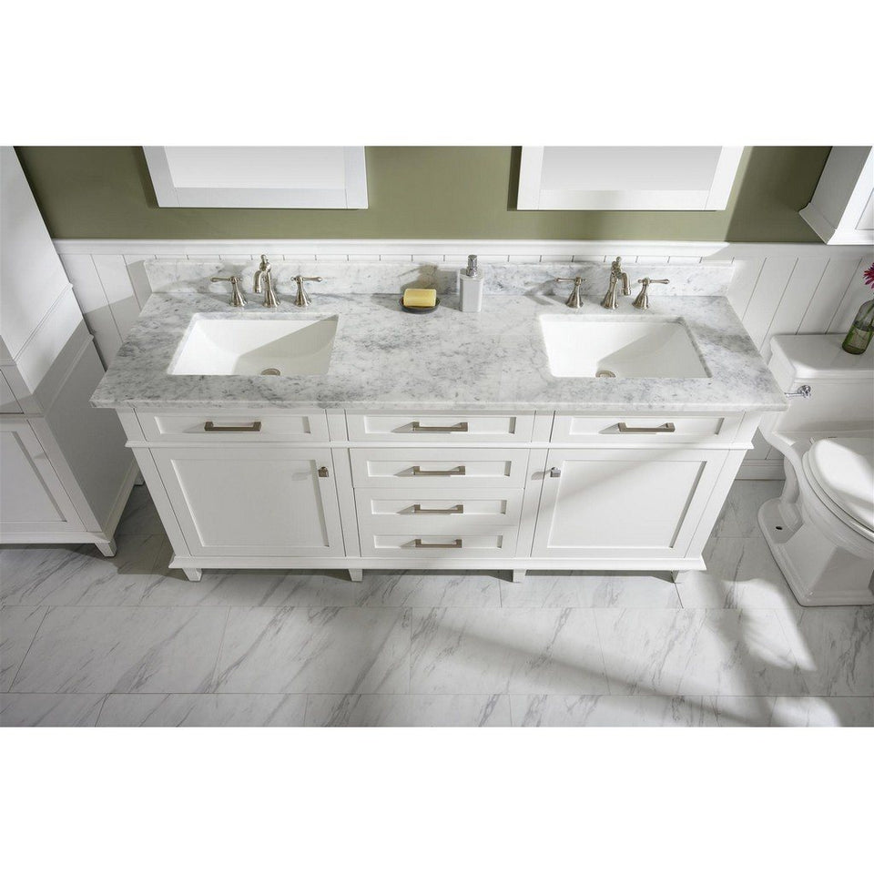 "72"" Double-Single Sink Vanity Cabinet with Marble Top Legion Furniture Vanities White"