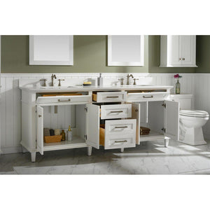 "80"" Double-Sink Vanity Cabinet with Marble Top Legion Furniture Vanities"