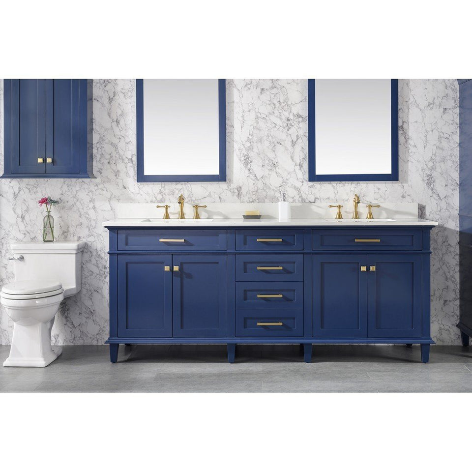 "80"" Double-Sink Vanity Cabinet with Marble Top Legion Furniture Vanities Blue"