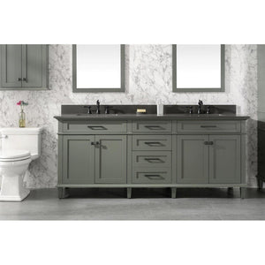 "80"" Double-Sink Vanity Cabinet with Marble Top Legion Furniture Vanities Pewter Green"